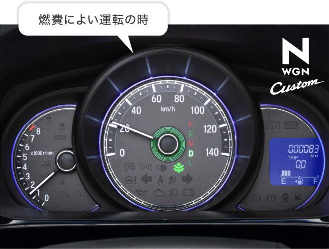 Зеленая индикация на табло Honda n-WGN Custom Эко режима