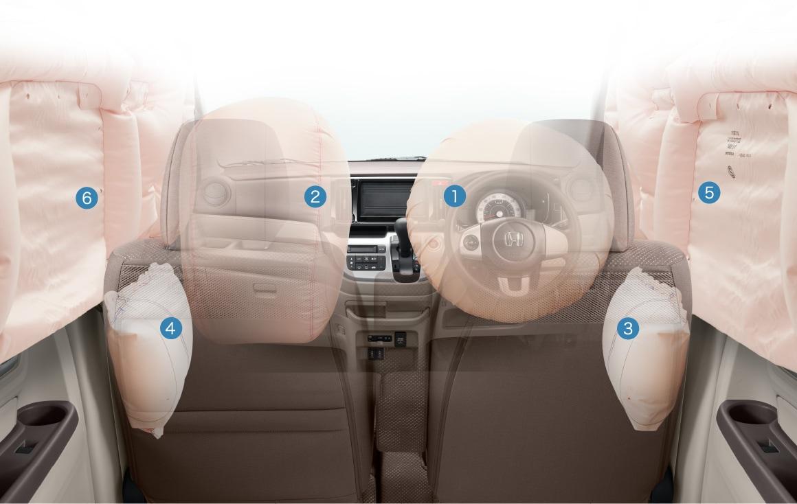6 подушек безопасности Honda N-WGN