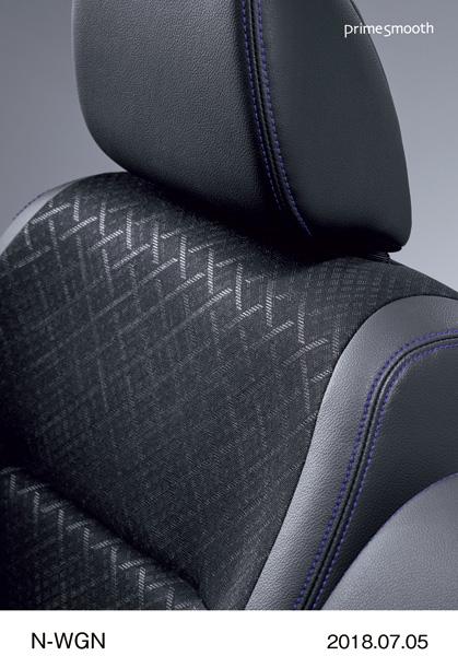 """N-WGN Custom Special Edition """"SS Black Style Package"""" Комбинированная обивка сидений: гладкая кожа и трикотажные вставки (фиолетовая двойная строчка)"""
