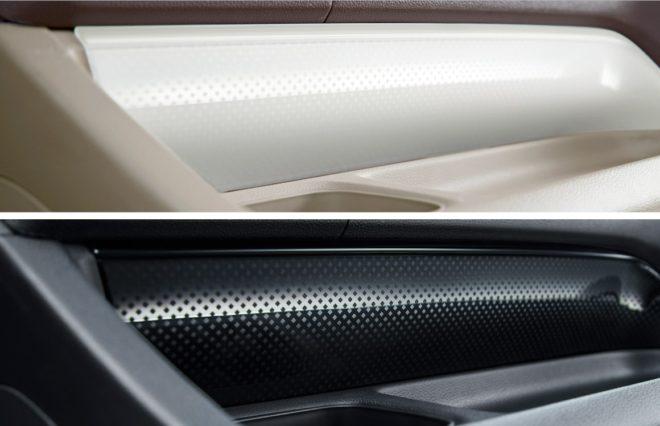 N-WGN G Special Edition SS PackageII (FF) Вставки салона. Многослойная прозрачная панель: белого цвета для коричнево - бежевого интерьера, и черного цвета для черного интерьера