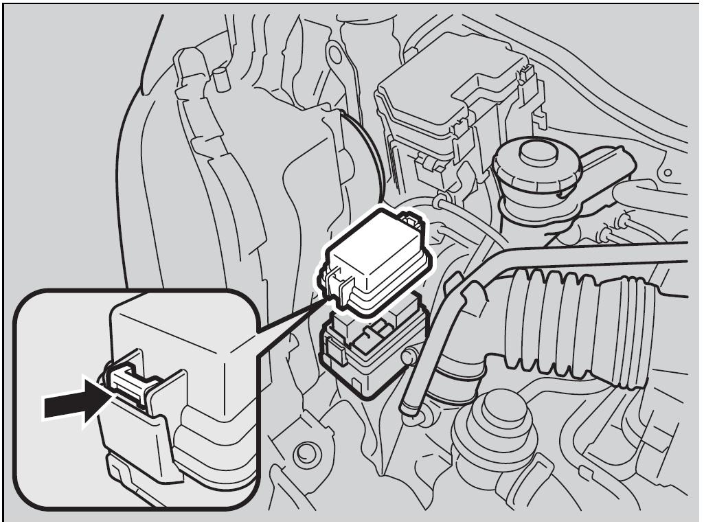 """Расположение блока предохранителей """"Б"""" под капотом в Honda N-BOX"""