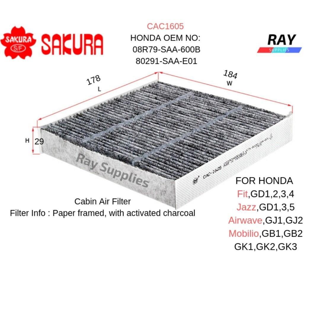 Фильтр салона угольный Sakura CAC 1605